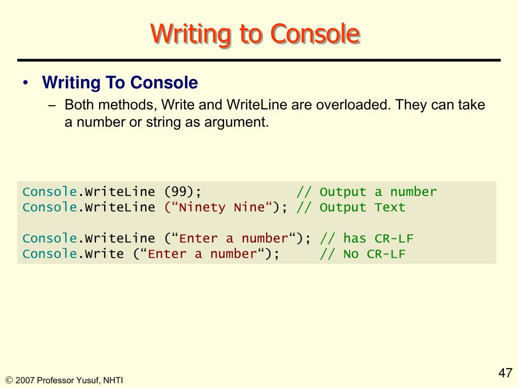 Writing to Console