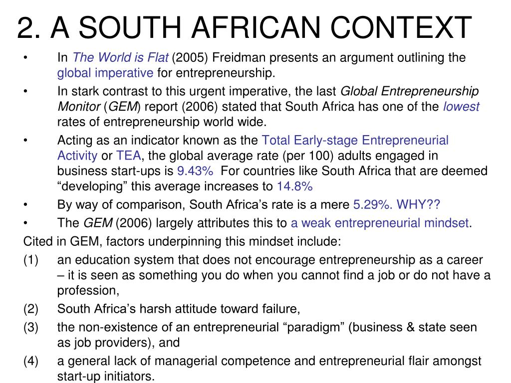 2. A SOUTH AFRICAN CONTEXT