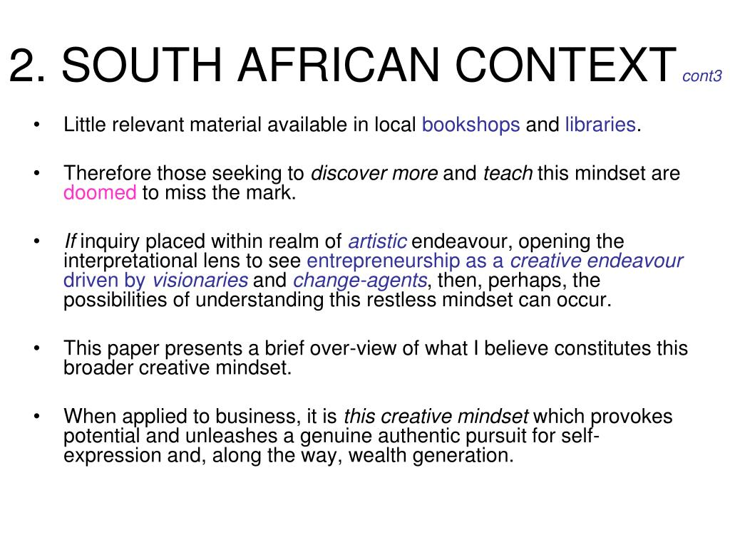 2. SOUTH AFRICAN CONTEXT