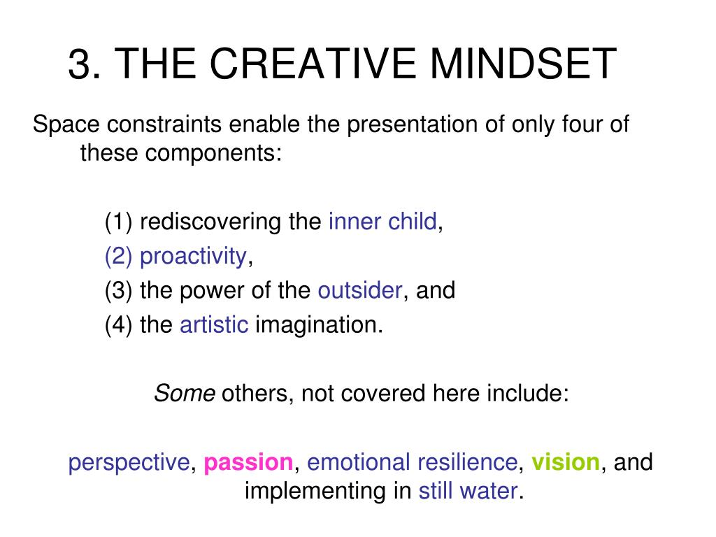 3. THE CREATIVE MINDSET