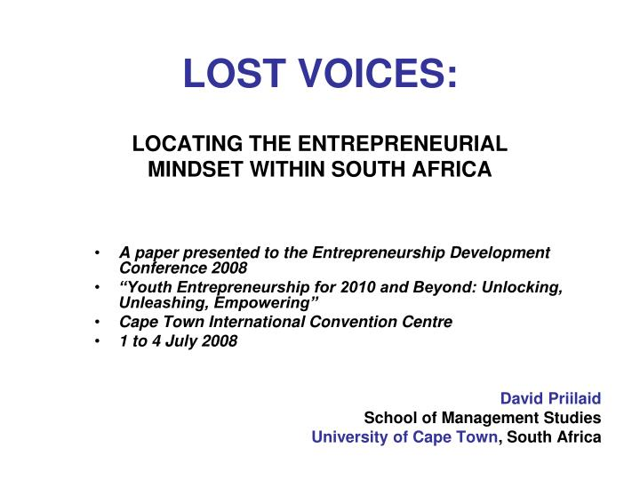 Lost voices locating the entrepreneurial mindset within south africa l.jpg