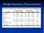 sample summary characteristics