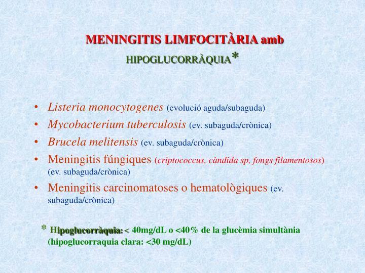 MENINGITIS LIMFOCITÀRIA amb