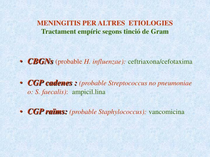 MENINGITIS PER ALTRES  ETIOLOGIES