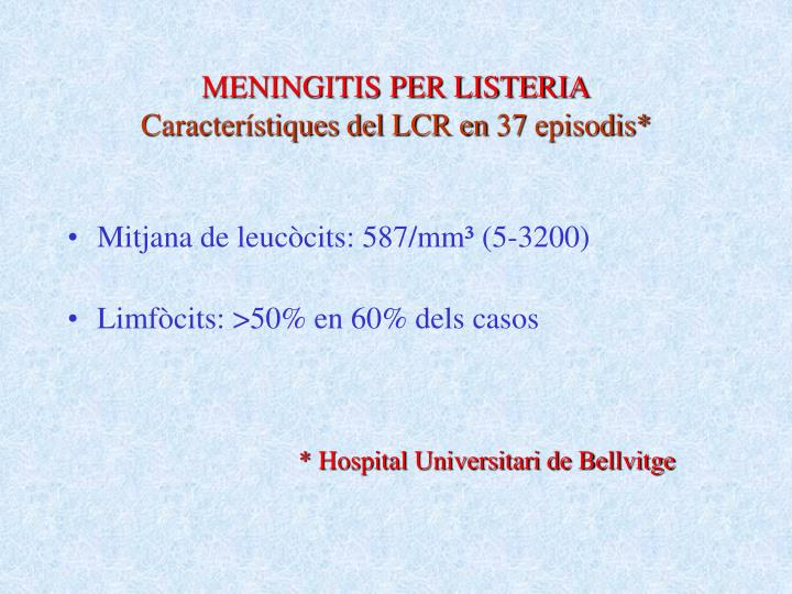 MENINGITIS PER LISTERIA