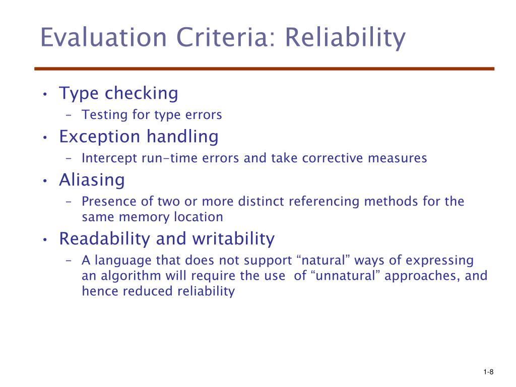 Evaluation Criteria: Reliability