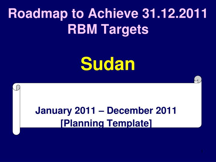 Roadmap to achieve 31 12 2011 rbm targets sudan