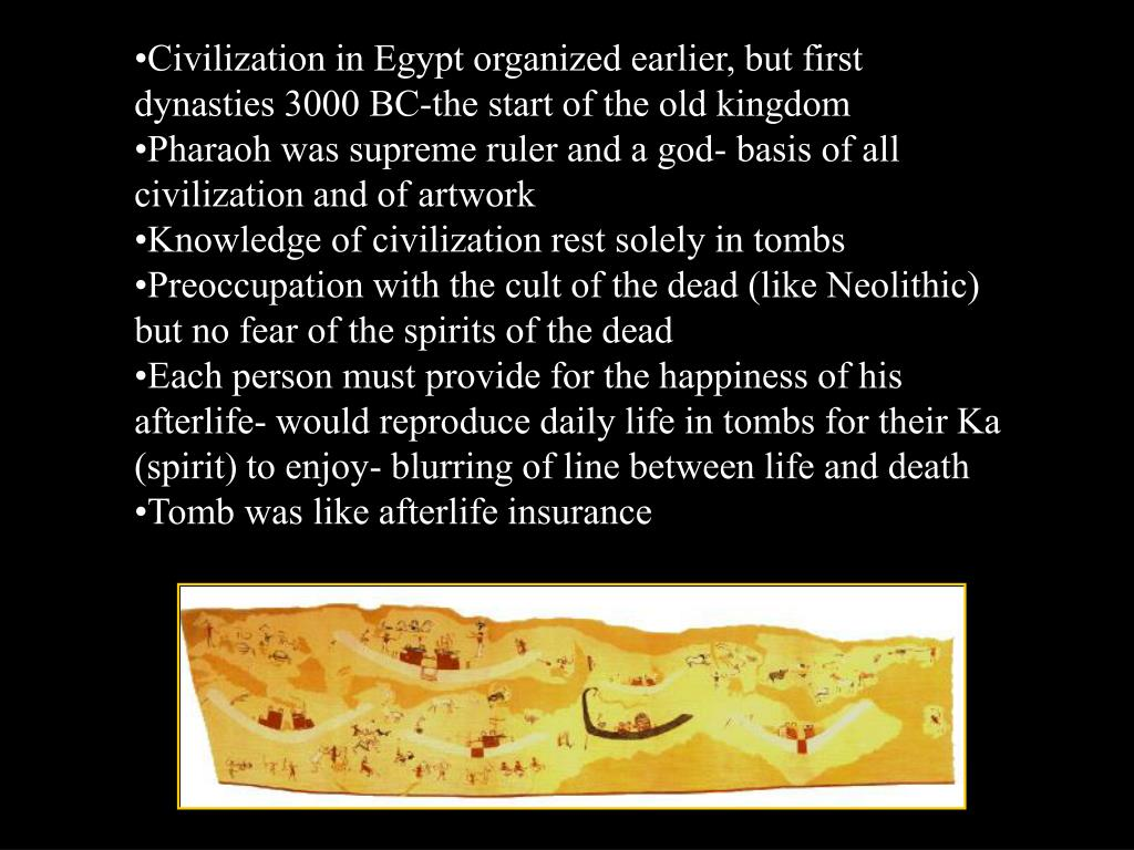 Civilization in Egypt organized earlier, but first dynasties 3000 BC-the start of the old kingdom