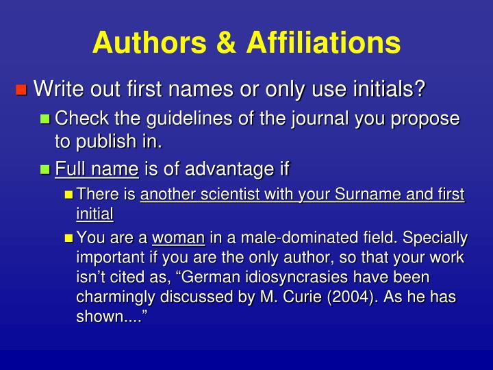 Authors & Affiliations