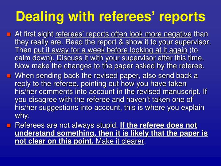 Dealing with referees' reports