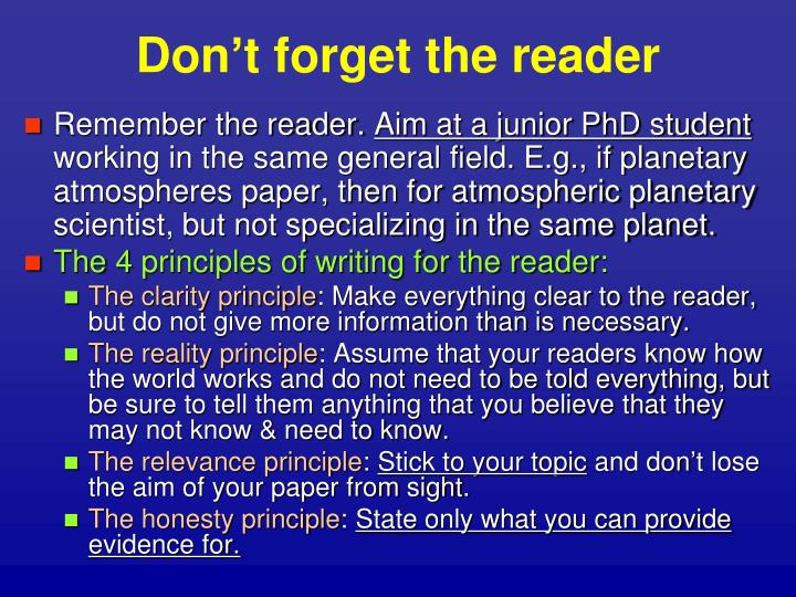Don't forget the reader