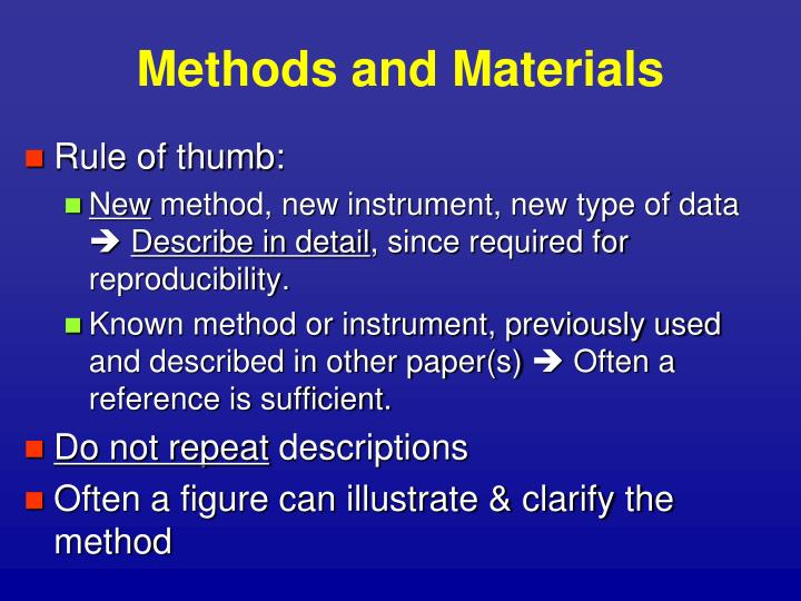 Methods and Materials