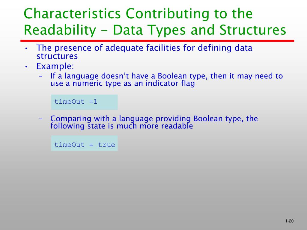 Characteristics Contributing to the Readability - Data Types and Structures