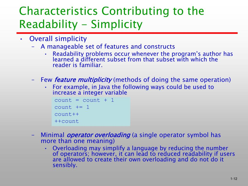 Characteristics Contributing to the Readability - Simplicity