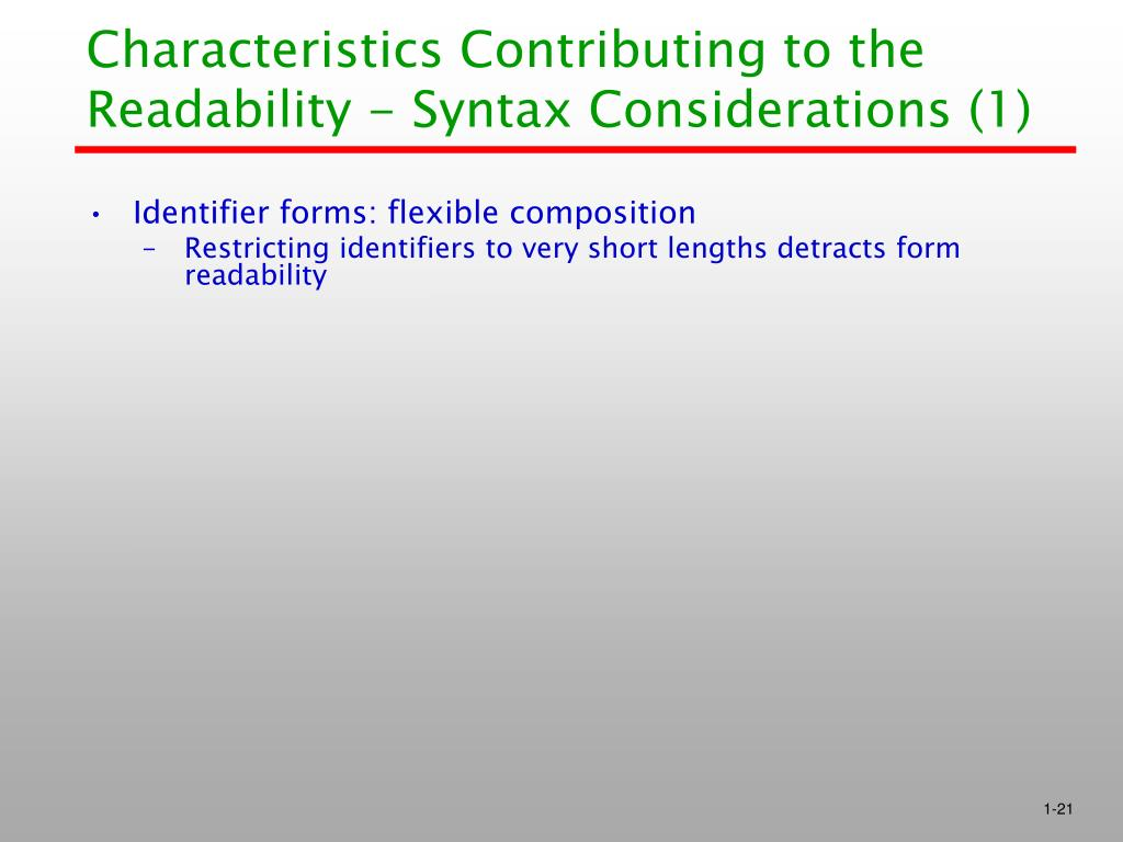 Characteristics Contributing to the Readability - Syntax Considerations (1)