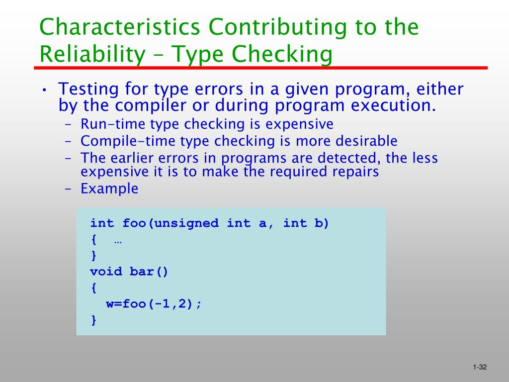 Characteristics Contributing to the Reliability – Type Checking