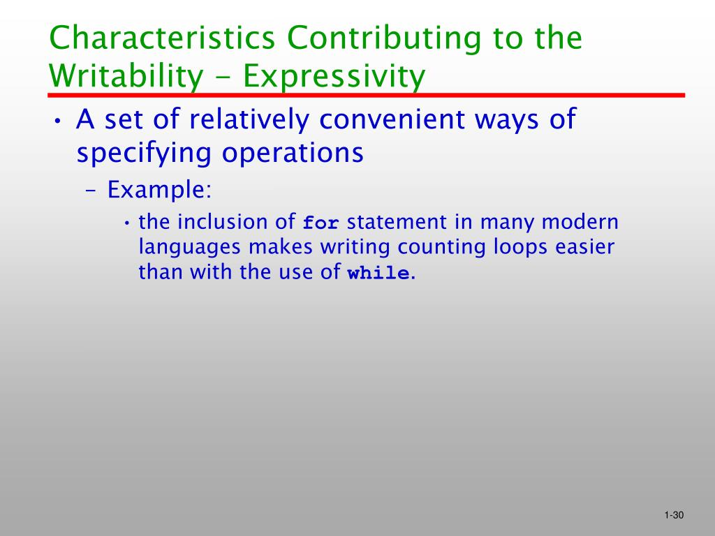 Characteristics Contributing to the Writability - Expressivity