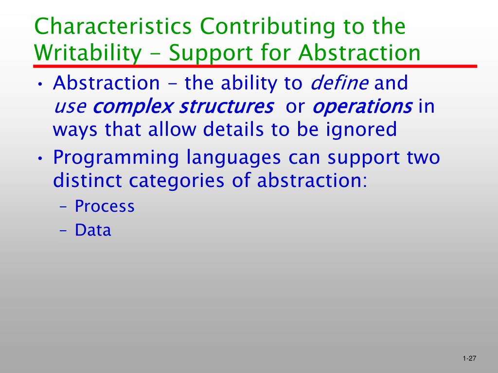 Characteristics Contributing to the Writability - Support for Abstraction