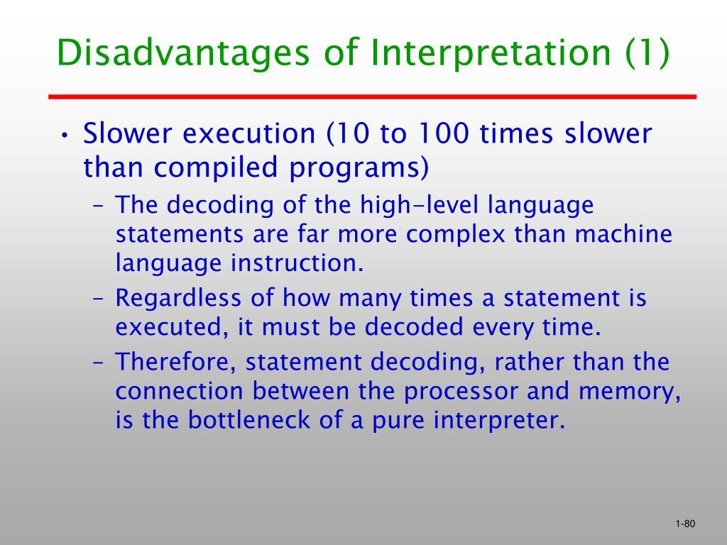 Disadvantages of Interpretation (1)