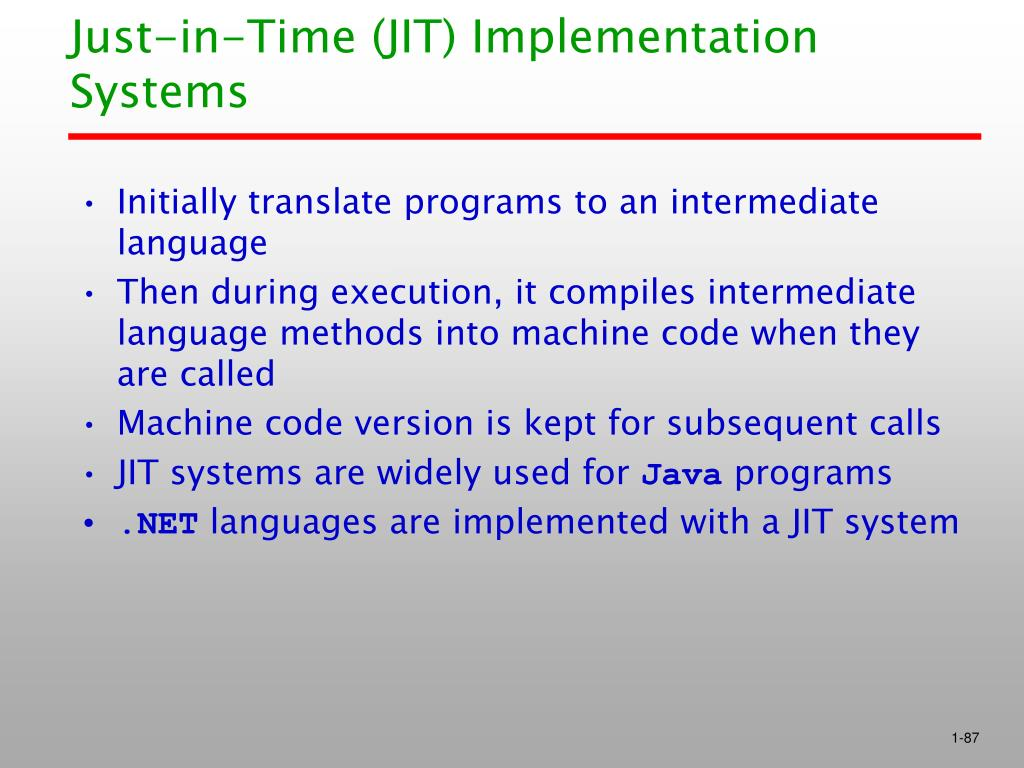 Just-in-Time (JIT) Implementation Systems