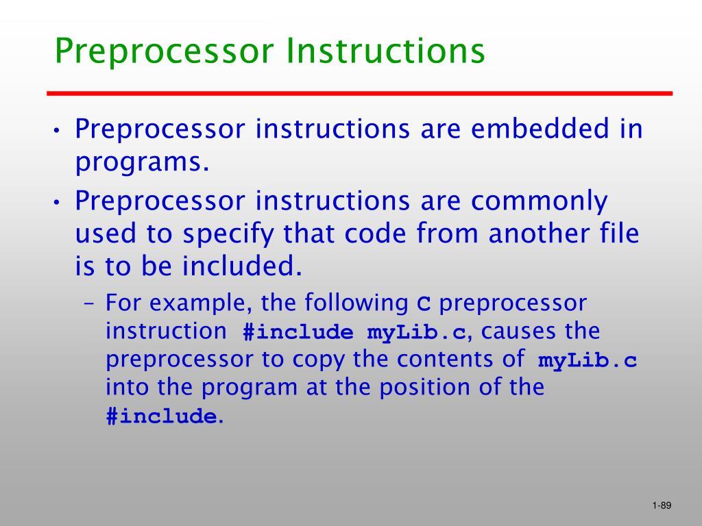 Preprocessor Instructions