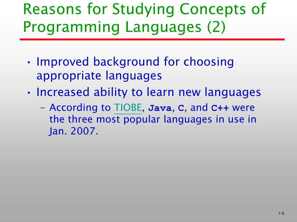 Reasons for Studying Concepts of Programming Languages (2)