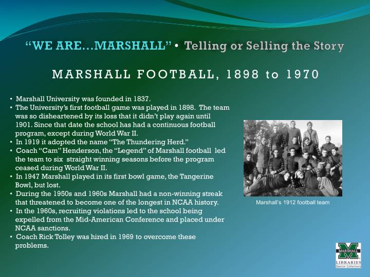 We are marshall telling or selling the story3