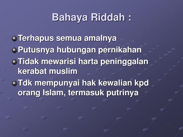 Bahaya Riddah :