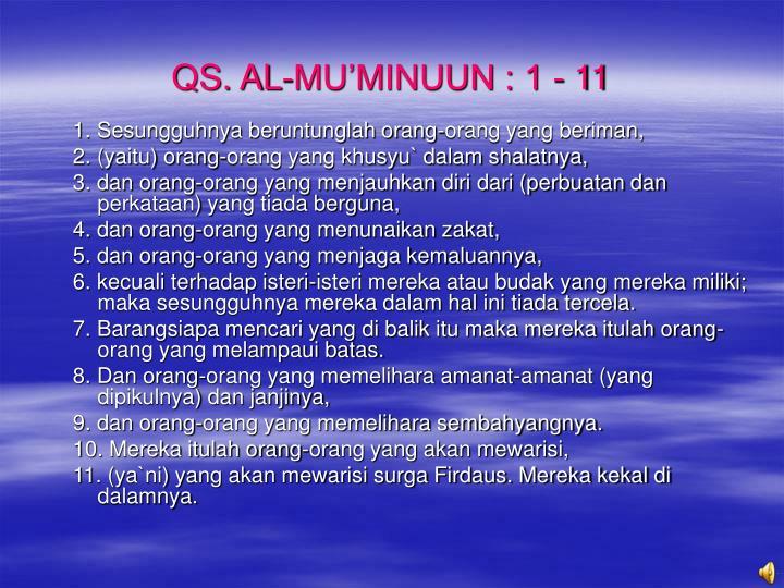 QS. AL-MU'MINUUN : 1 - 11