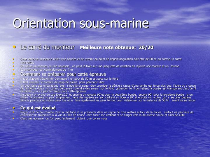 Orientation sous-marine