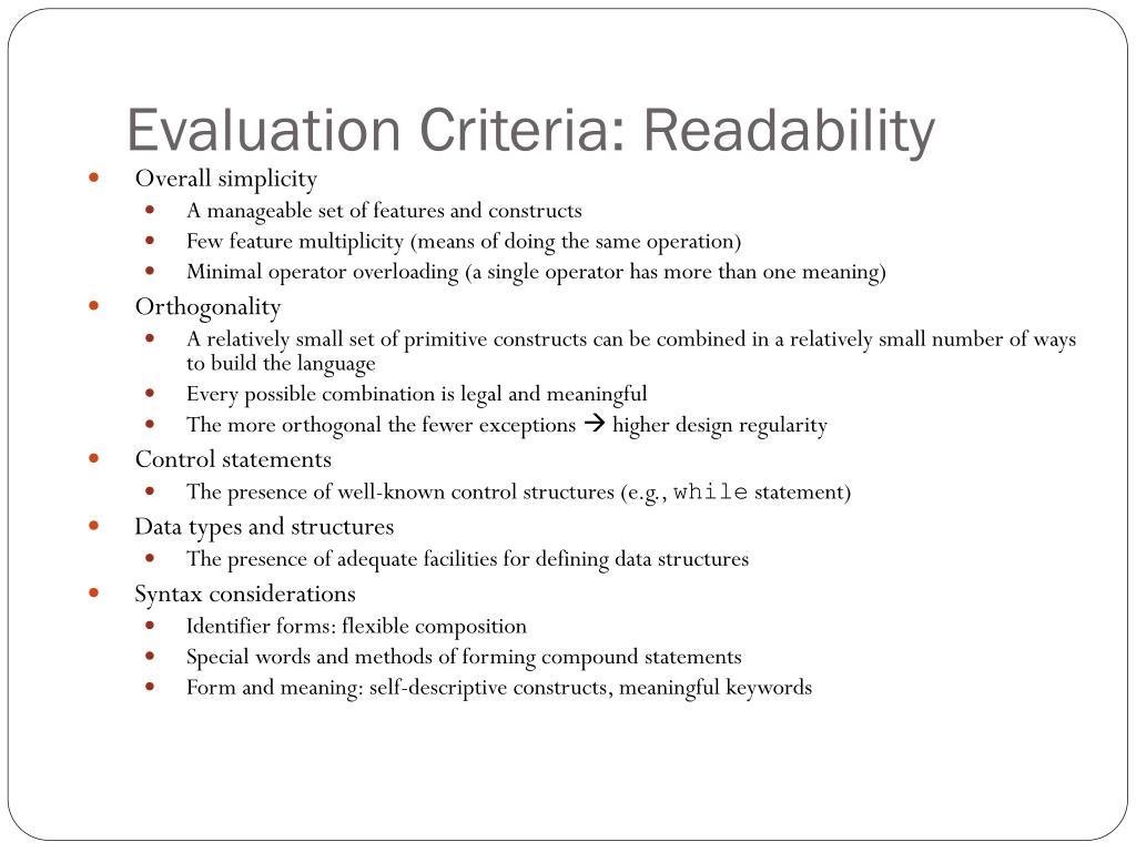 Evaluation Criteria: Readability