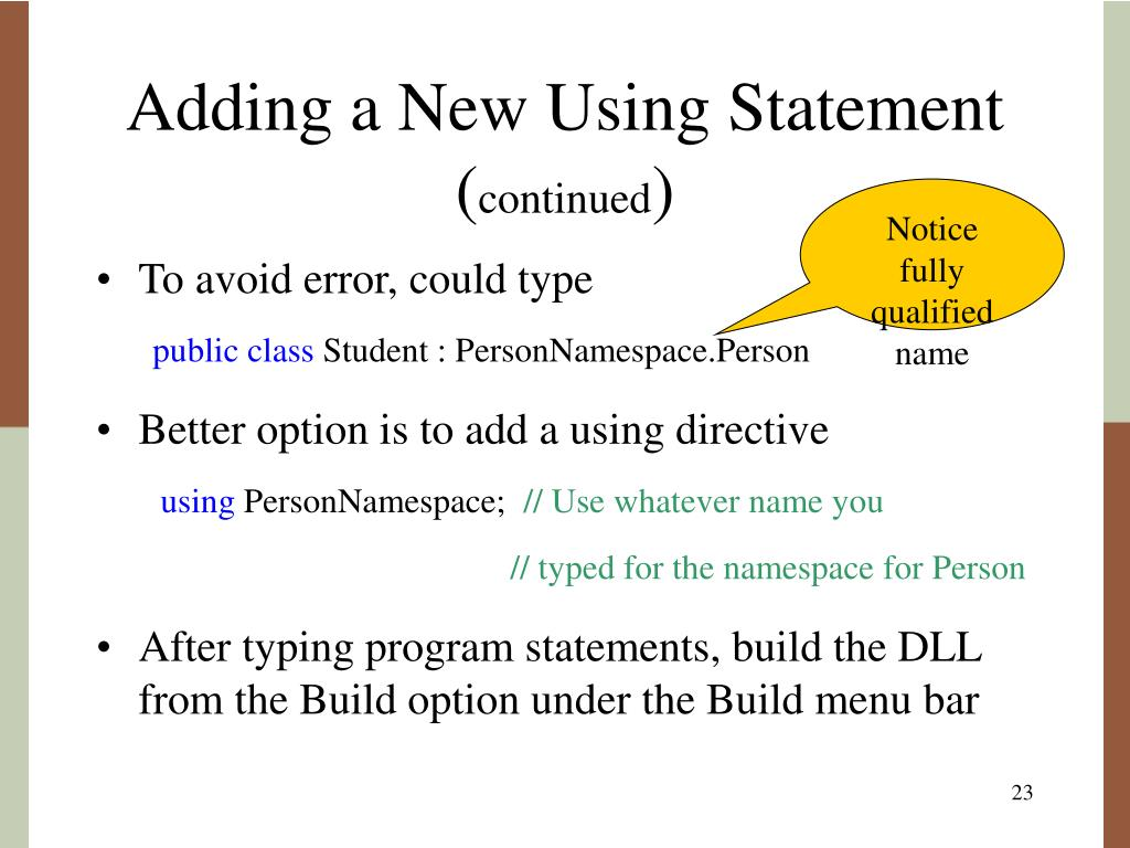 Adding a New Using Statement (