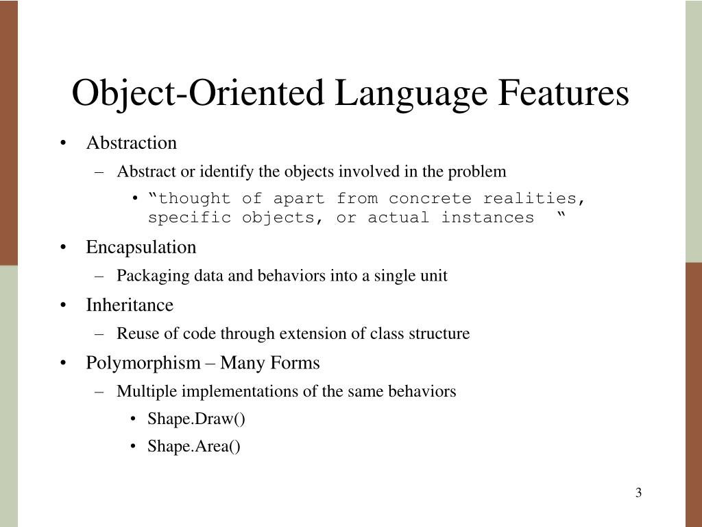 Object-Oriented Language Features