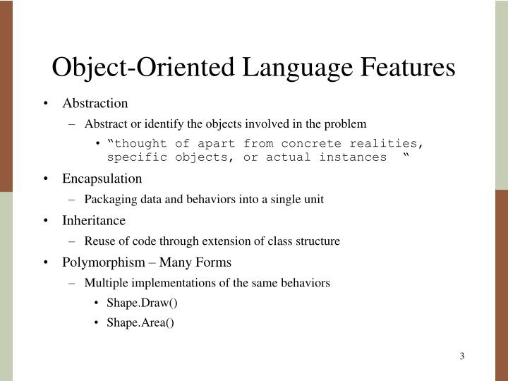 Object oriented language features