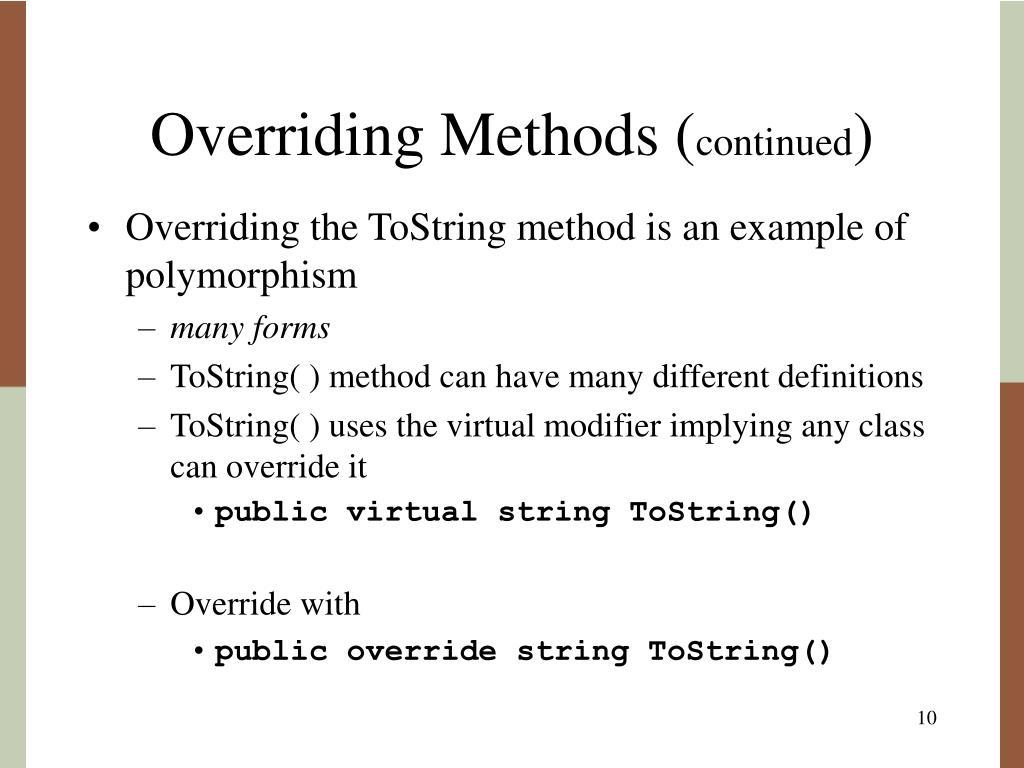 Overriding Methods (
