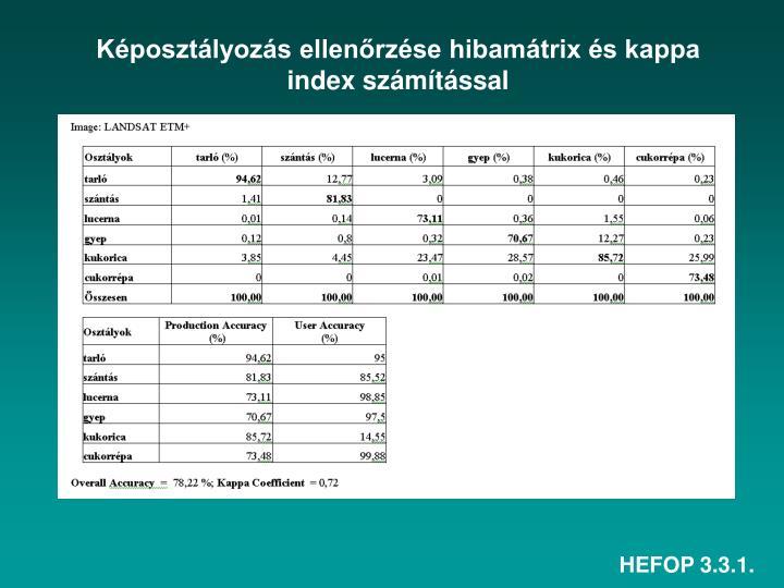 Képosztályozás ellenőrzése hibamátrix és kappa index számítással