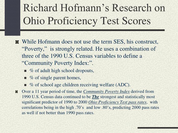Richard Hofmann's Research on Ohio Proficiency Test Scores