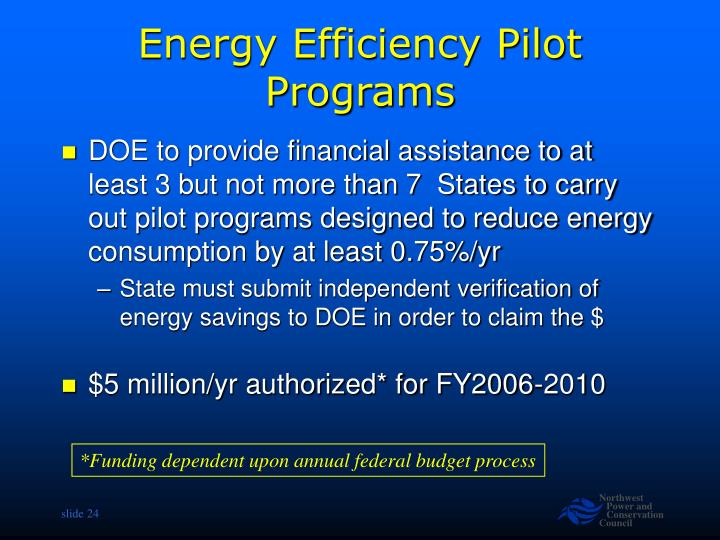 Energy Efficiency Pilot Programs