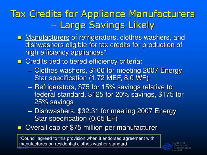 Tax Credits for Appliance Manufacturers – Large Savings Likely