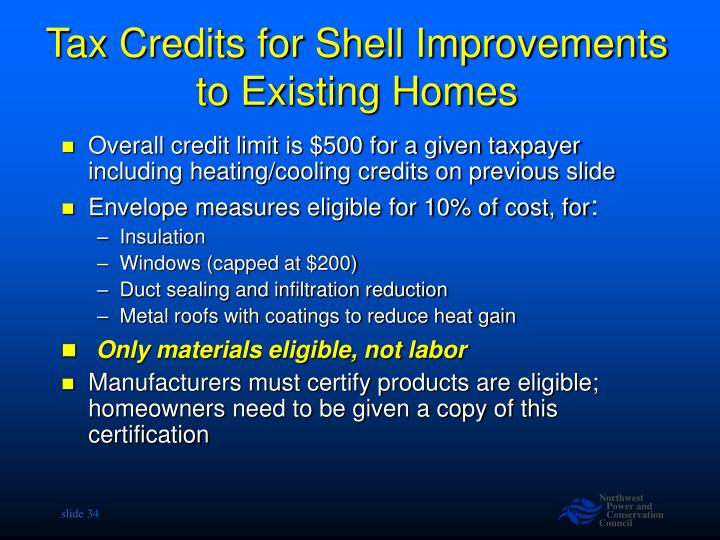 Tax Credits for Shell Improvements to Existing Homes