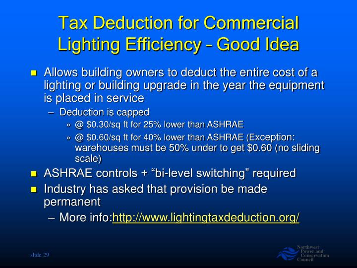 Tax Deduction for Commercial Lighting Efficiency – Good Idea