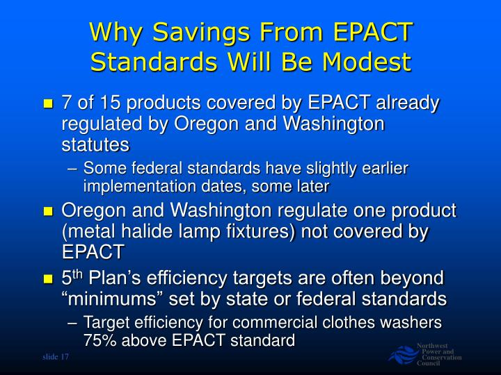 Why Savings From EPACT  Standards Will Be Modest