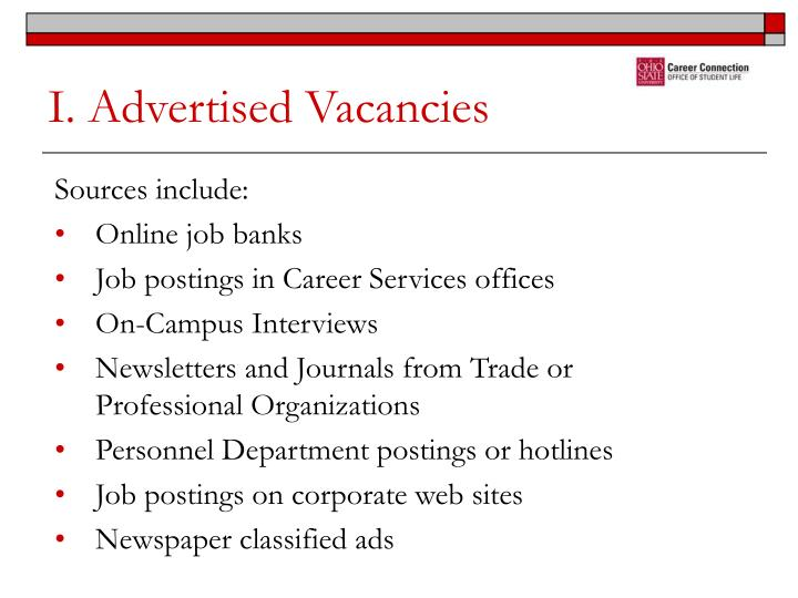 I. Advertised Vacancies