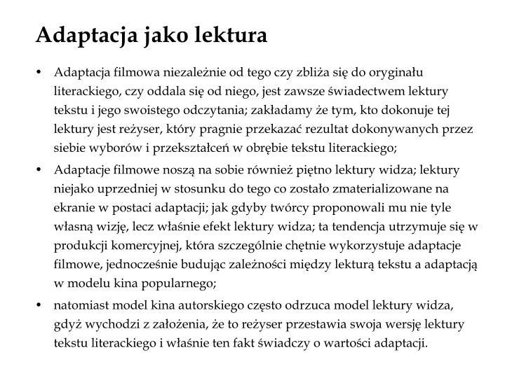 Adaptacja jako lektura