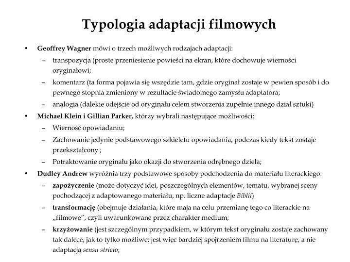 Typologia adaptacji filmowych