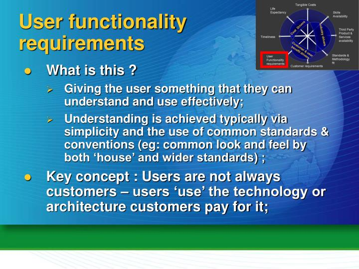 User functionality requirements