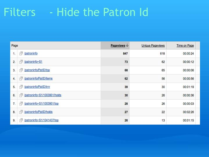Filters    - Hide the Patron Id
