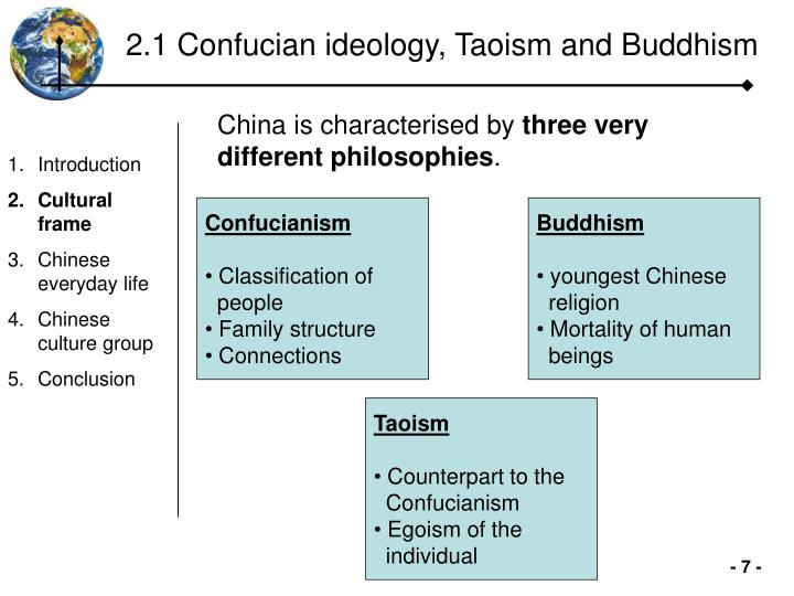 2.1 Confucian ideology, Taoism and Buddhism