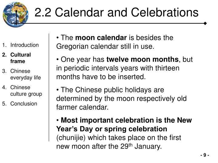 2.2 Calendar and Celebrations