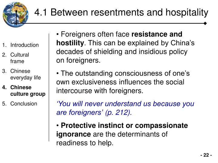 4.1 Between resentments and hospitality